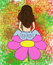 Brunette sitting on a flower woman pink in front of colorfull scenery Royalty Free Stock Image