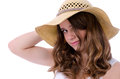 Brunette teenager in straw hat isolated on white background Royalty Free Stock Images