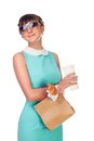 Brunette in turquoise dress with fast food woman sunglasses hands on white background Royalty Free Stock Images