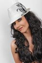 Brunette in white hat Stock Photos