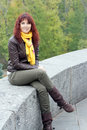 Brunette woman beautiful in yellow scarf autumn Royalty Free Stock Photography