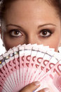 Brunette woman with Euro money Royalty Free Stock Photo