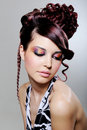 Brunette woman with fashion creative hairstyle Royalty Free Stock Photo