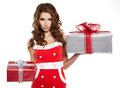 Brunette woman with a gift boxes Stock Photo