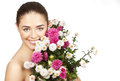 Brunette woman holding bouquet of flowers beautiful Stock Image