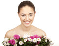 Brunette woman holding bouquet of flowers beautiful Royalty Free Stock Images