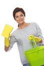 Brunette woman with sponge and bucket Stock Photo