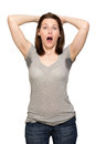 Brunette woman sweating very badly under armpit Stock Images