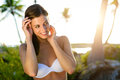 Brunette woman on tropical caribbean vacation young in bikini caucasian model at natural virgin beach in riviera maya mexico Royalty Free Stock Photography