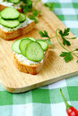 Bruschetta with goat cheese and cucumber slices food Royalty Free Stock Images