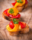 Bruschetta with grilled bell pepper Royalty Free Stock Photo