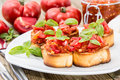 Bruschetta with ingredients Stock Image