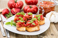 Bruschetta with ingredients Royalty Free Stock Photo