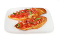 Bruschetta on plate Royalty Free Stock Photo