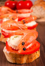 Bruschetta sandwich shrimp selective focus front shrimp Stock Photos