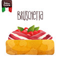 Bruschetta with tomato bacon and basil italian food vector illustration Stock Photography