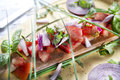 Bruschetta with tomato and basil dish of mediterranean cuisine Stock Photo