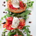 Bruschetta with tomato and basil oregano ricotta extra virgin olive oil january photo by lisa wiltse Stock Photography