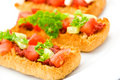 Bruschetta with tomato,cheese and other stuffing Stock Photography