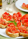 Bruschetta with tomato fresh and basil Royalty Free Stock Photos