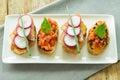 Bruschetta tomato italian ham and radish Stock Photos