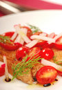 Bruschetta with tomato, radish and dill Stock Photos