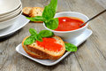 Bruschetta and tomatoe sauce with fresh basil olive oil Royalty Free Stock Images