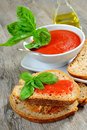 Bruschetta and tomatoe sauce with fresh basil olive oil Stock Image