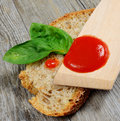 Bruschetta and tomatoe sauce with fresh basil olive oil Stock Photography