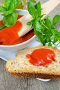 Bruschetta and tomatoe sauce with fresh basil olive oil Stock Photo