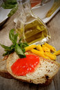Bruschetta and tomatoe sauce with fresh basil olive oil Stock Images