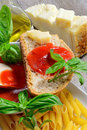 Bruschetta and tomatoe sauce with fresh basil olive oil parmesan cheese Stock Photography