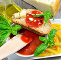 Bruschetta and tomatoe sauce with fresh basil olive oil parmesan cheese Stock Images