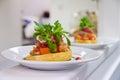 Bruschetta with tomatoes and parma ham Stock Photo