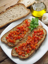 Bruschetta with tomatoes toasted bread and oil Royalty Free Stock Photos