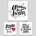 Brush calligraphy love cards set handwritten text isolated on white background for valentine s day wedding t shirts or Stock Photo