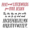 Brush hand drawn font wih catchwords