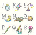 Brush illustrated alphabet letters j r hand drawn illustrations for Stock Image