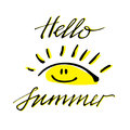 Brush lettering composition of Hello Summer isolated on white background.