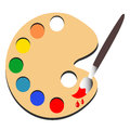 Brush paint with palette paint vector