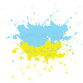 Brush painted abstract flag of Ukraine. Hand drawn style illustration with a grunge effect, ink and splashes on white
