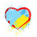 Brush painted abstract flag of Ukraine.