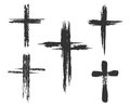 Brush painted cross icons Royalty Free Stock Photo