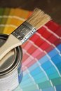 Brush, painting and color palette Royalty Free Stock Images