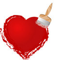 Brush painting heart Royalty Free Stock Image