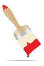 Brush with red paint Stock Photography