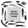 Brush strokes border frame - concept background banner template for text. Dirty artistic design elements. Ink black color. Vector