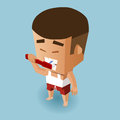 Brush teeth boy vector illustration Royalty Free Stock Photography