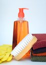 Brush, towel, and soap for bathroom Royalty Free Stock Photo