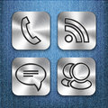 Brushed metal app icon templates 3 Royalty Free Stock Photo